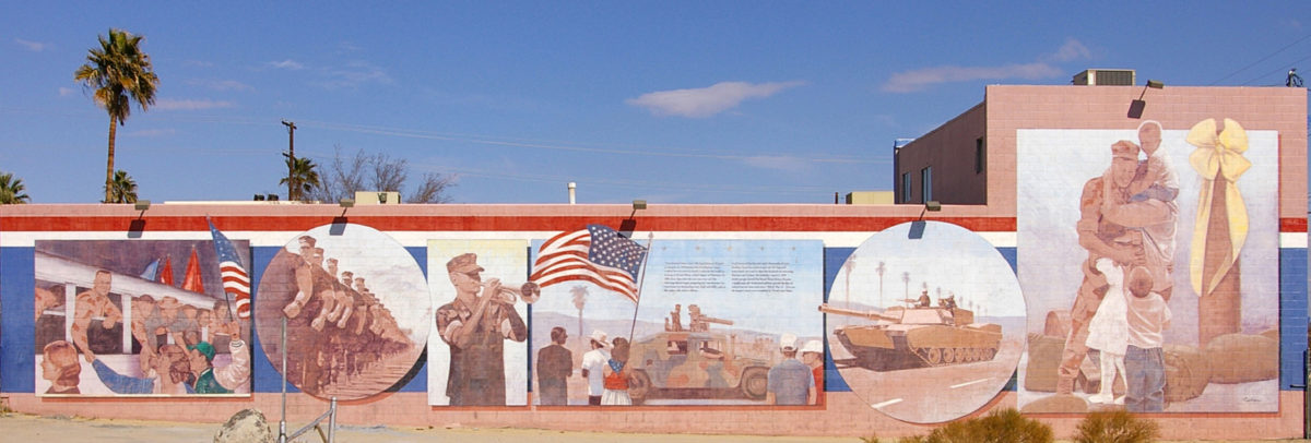 Desert Storm Homecoming & Victory Parade mural in 29 Palms, California