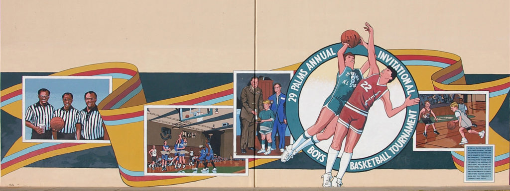 Boys Basketball Tournament mural, 29 Palms, California